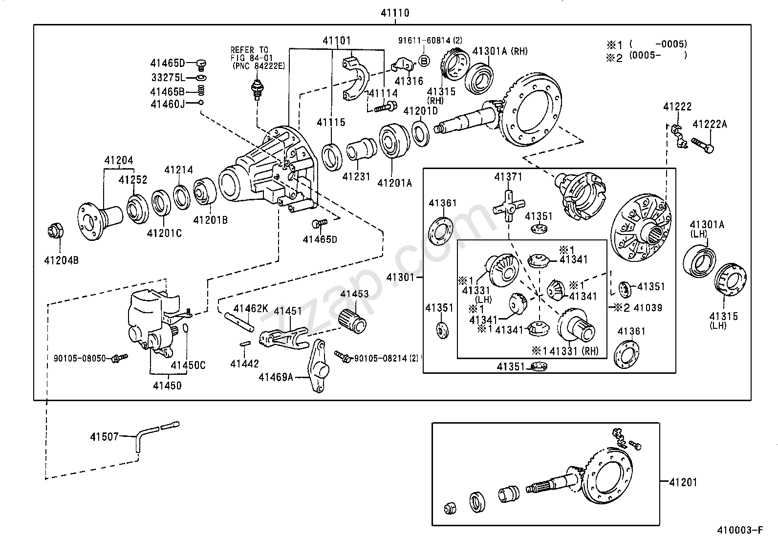 rear axle housing  u0026 differential rear differential lock illust no  1 of 2 9604