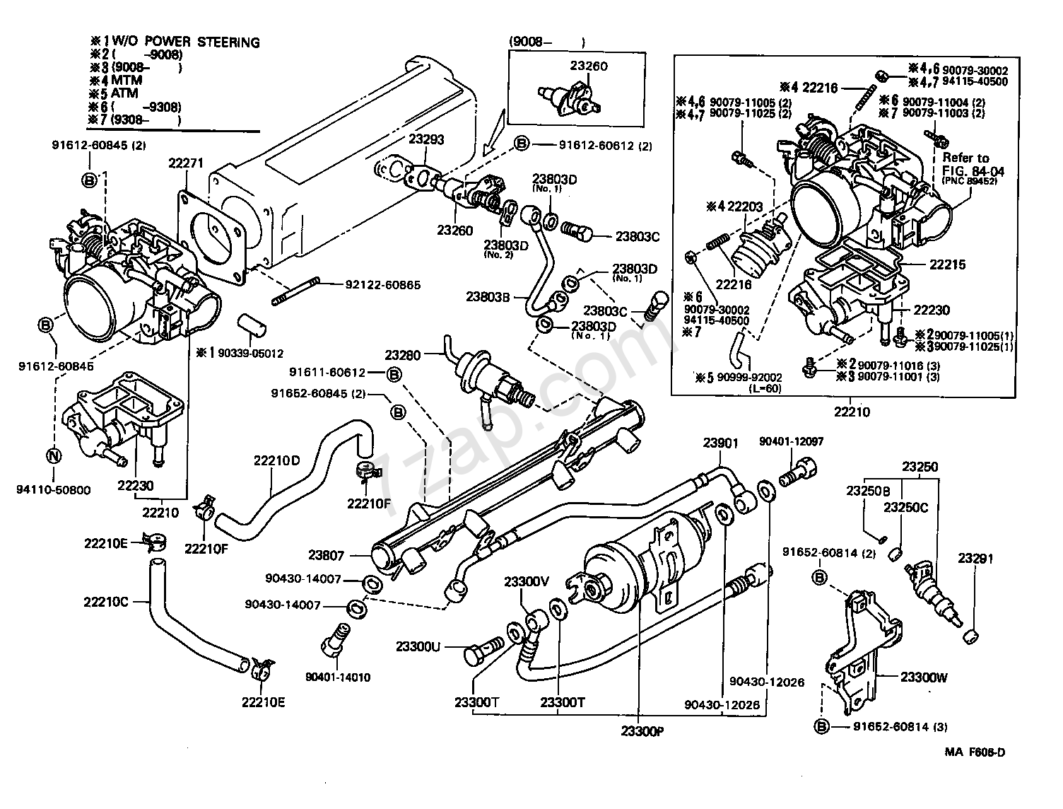 FUEL INJECTION SYSTEM  ILLUST NO 1 OF 2 8808     22RE         TOYOTA    4RUNNER TRUCK  RN10  110 13
