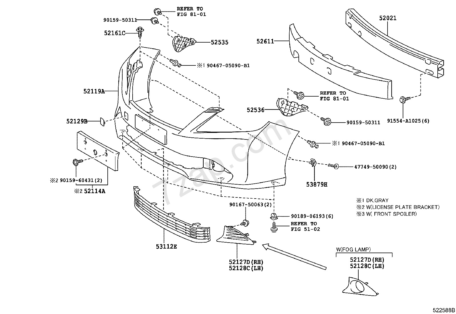 toyota camry front bumper parts