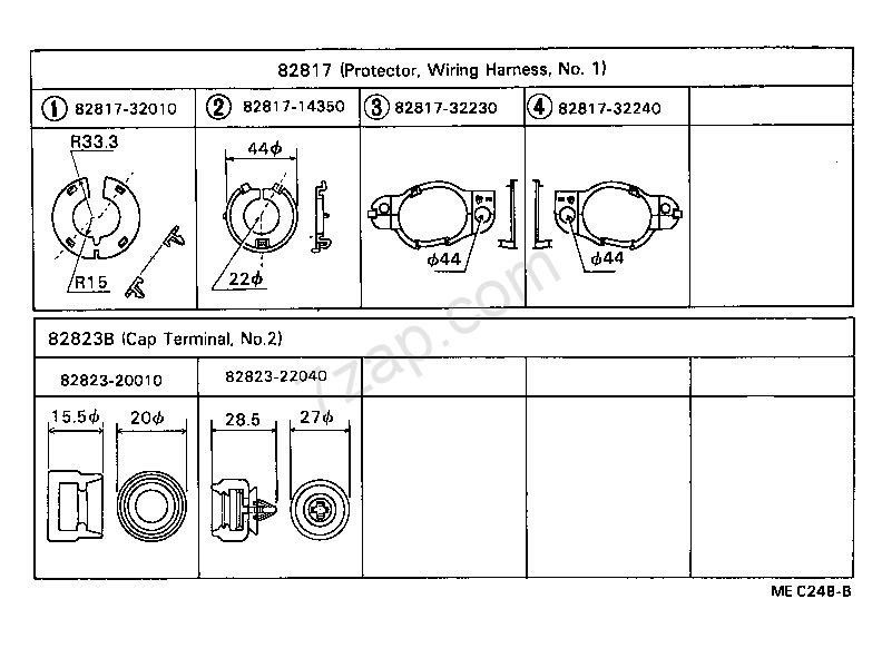 MEC248B wiring & clamp[ (8210 ) ] toyota camry [sv1 ,cv1 ] (asia and middle