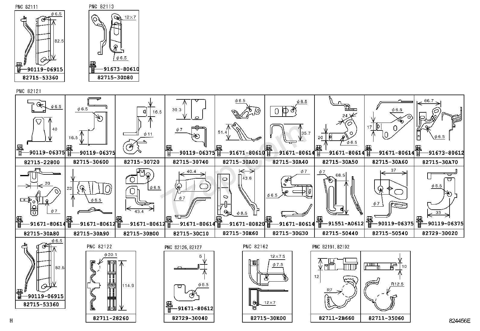 824456E wiring & clamp[clamp & bracket illust no 7 of 9(0508 ) ] toyota