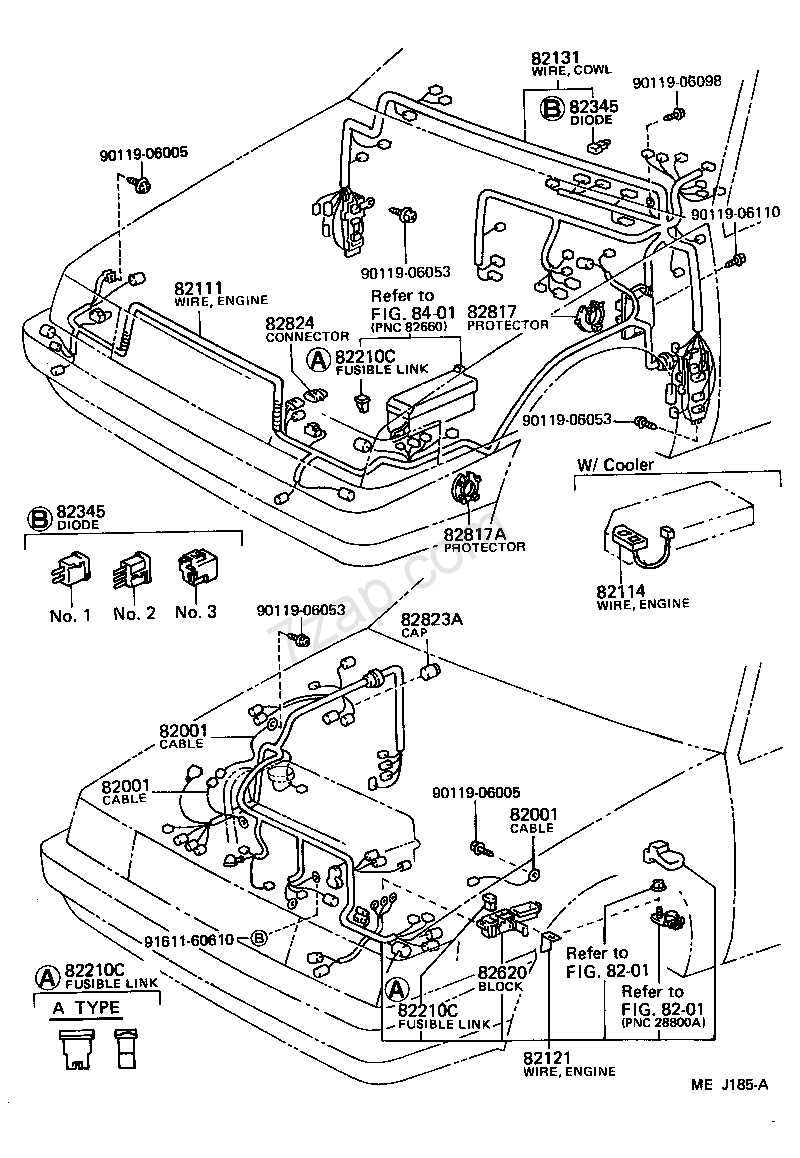 wiring & clamp[ (8702 )d ] toyota corolla [ae82] (north america) ae82 interior part code, title, information, i