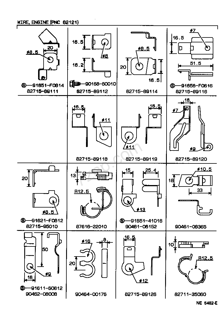 NE5482E wiring & clamp[engine wire clamp illust no 4 of 4(8808 toyota wiring harness clips at edmiracle.co